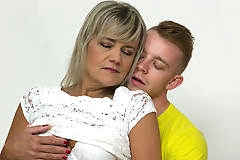 Horny mature lady fucking and sucking her toy boy
