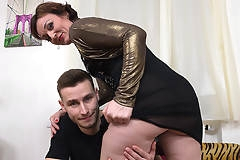 Naughty horny housewife fucking and sucking her toy boy