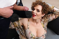 Hot mature MErce loves a throbbing hard cock in her mouth pussy and between her tits