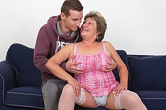 Naughty mama fucking and sucking her toy boy